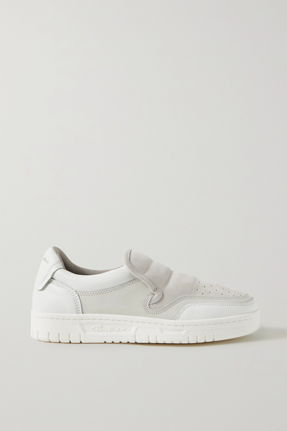 Acne Studios Buller perfortated suede and leather slip-on sneakers
