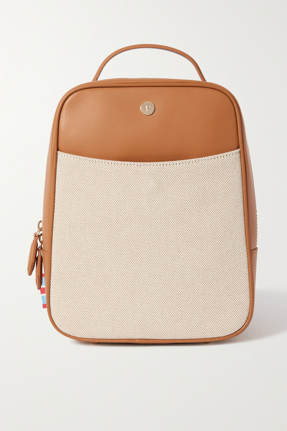 Paravel Cabana striped grosgrain-trimmed canvas and leather backpack