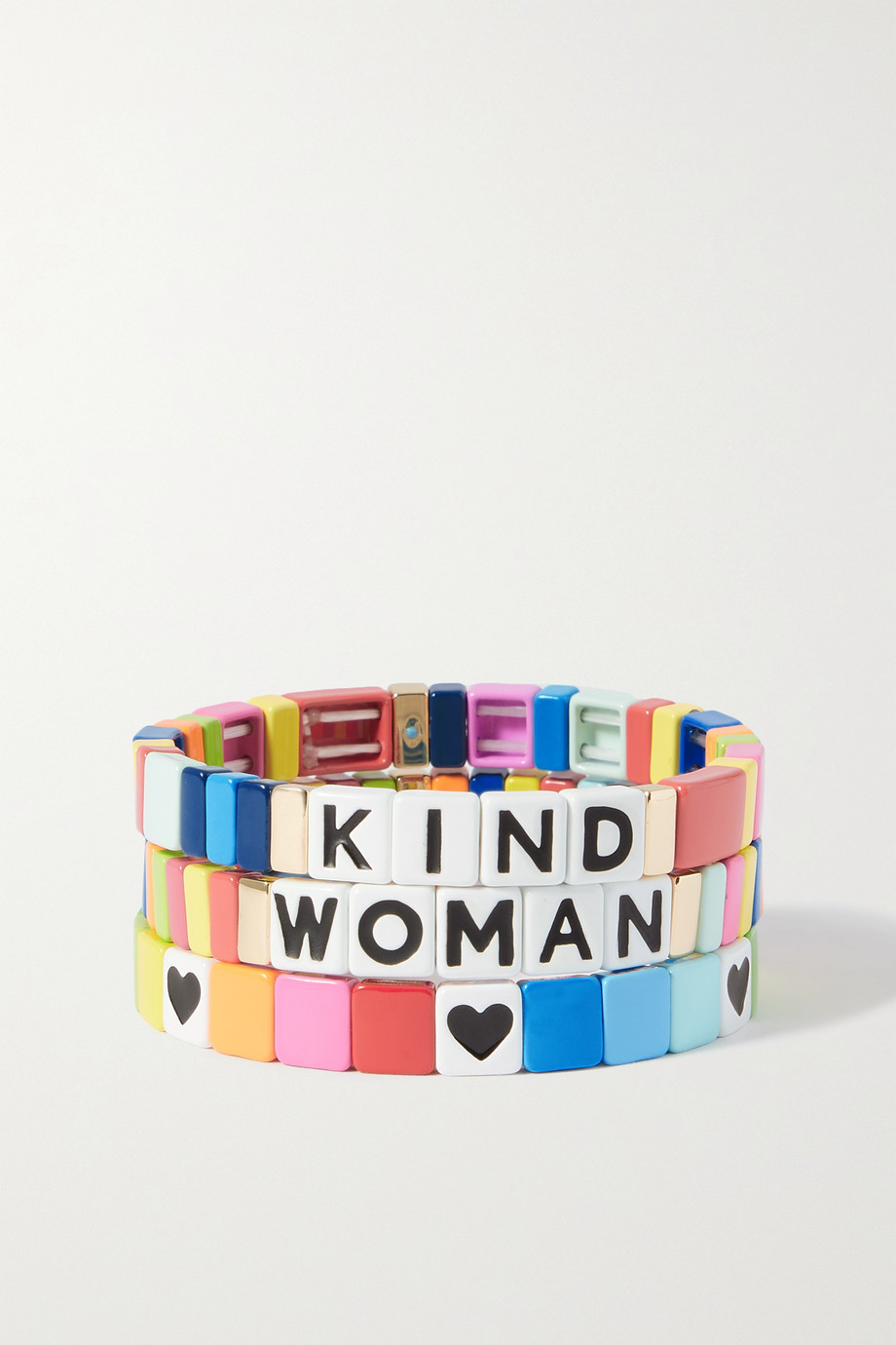 Roxanne Assoulin Set de trois bracelets en émail et métal doré - Journée internationale des droits des femmes