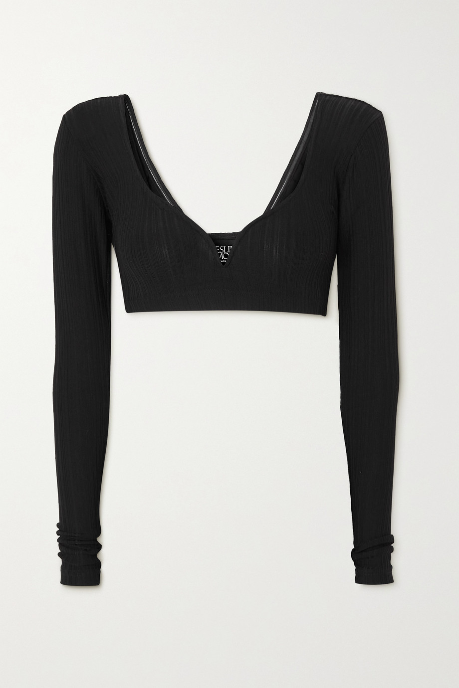 Leslie Amon Caro cropped ribbed-knit top