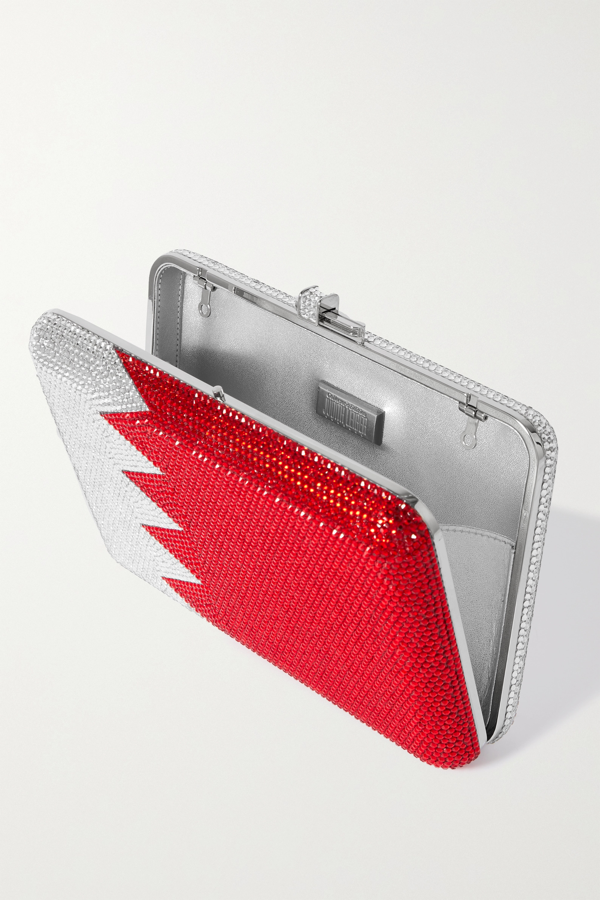 Judith Leiber Couture Flag crystal-embellished silver-tone clutch