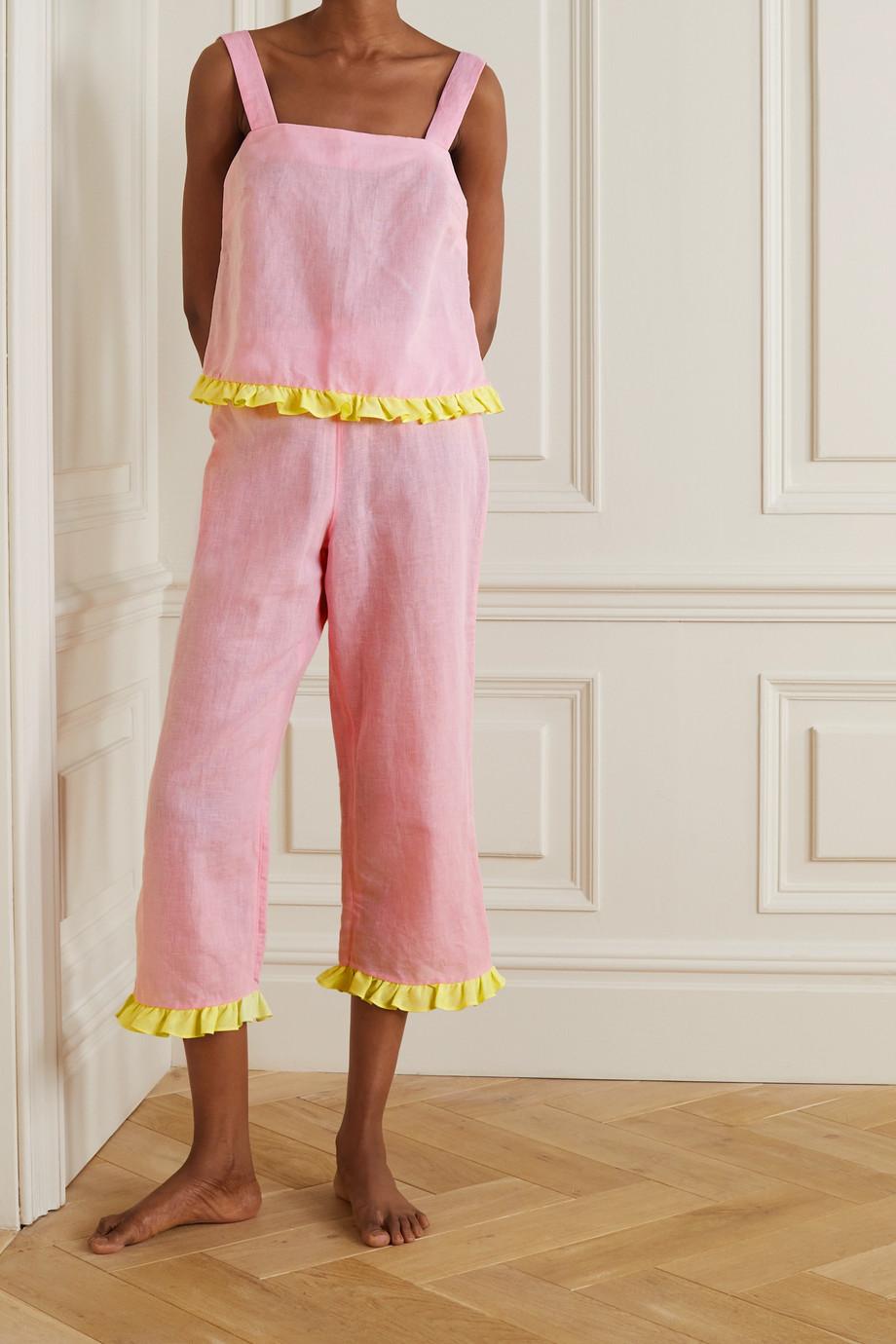 Dora Larsen Emeli Pyjama aus einer Leinen-Biobaumwollmischung mit Rüschen