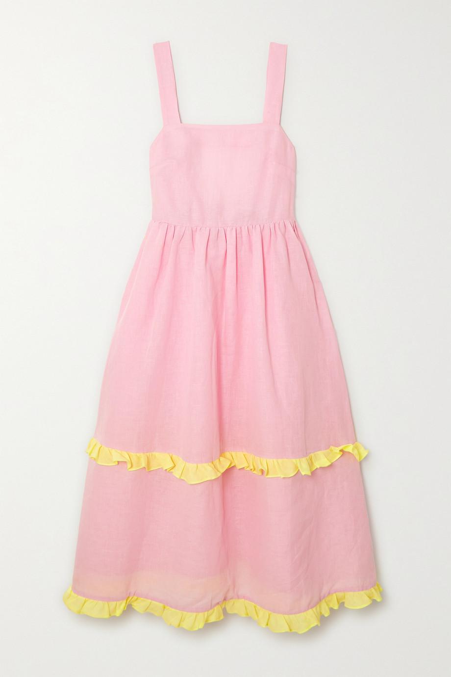 Dora Larsen Emeli ruffled linen and organic cotton-blend nightdress