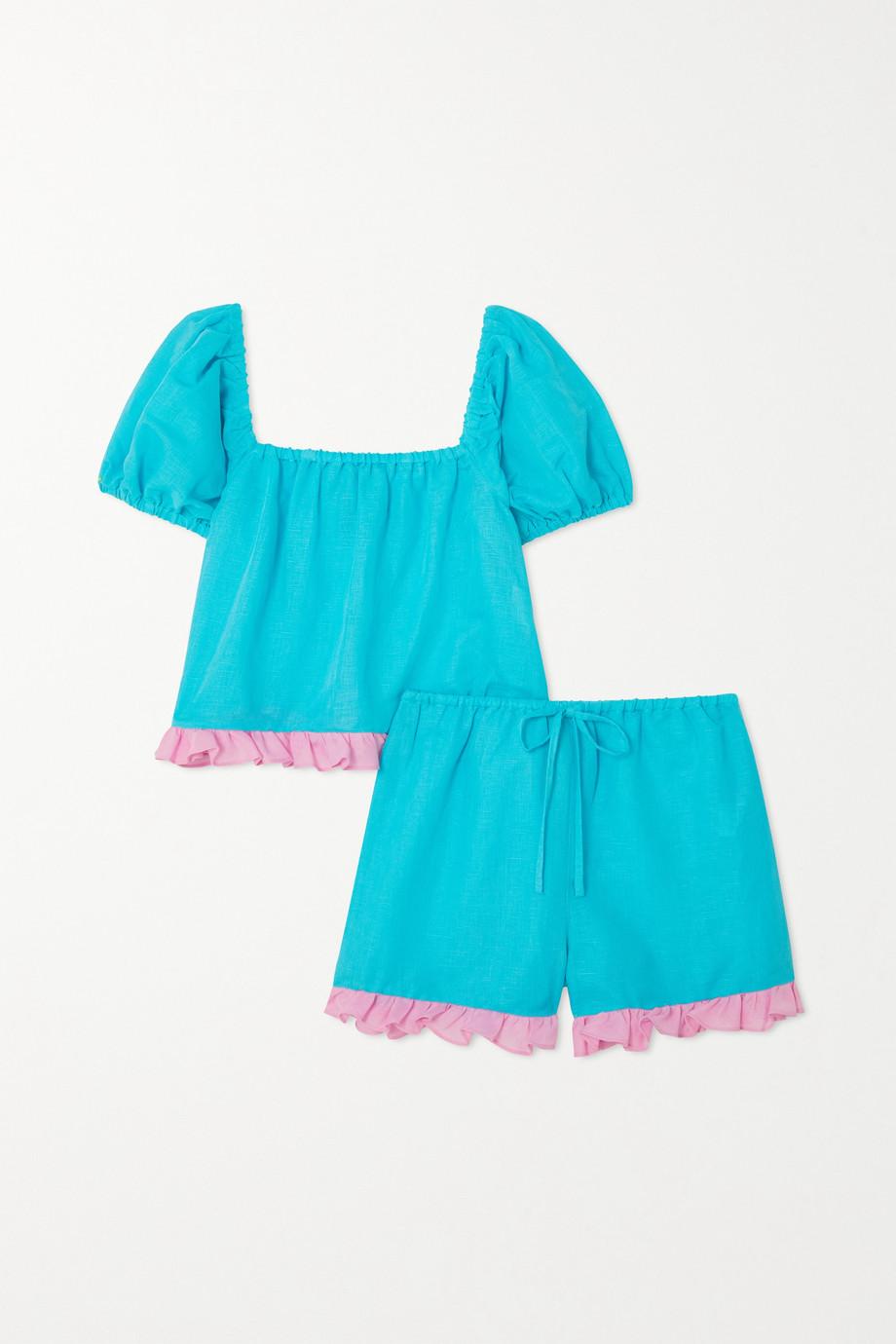 Dora Larsen Sienna ruffed linen and organic cotton-blend pajama set