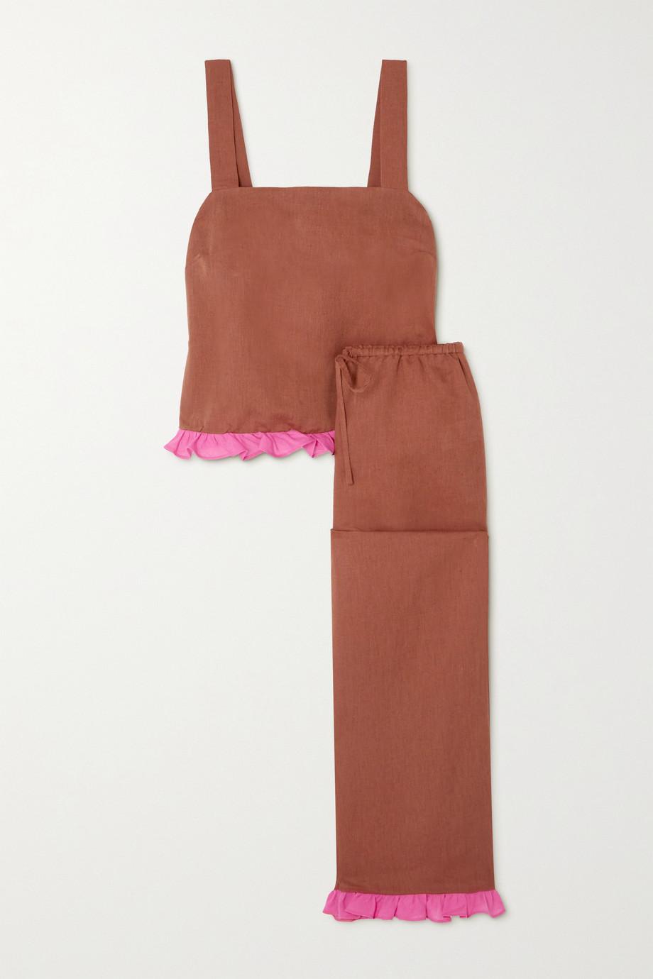 Dora Larsen Alexa ruffled linen and organic cotton-blend pajama set
