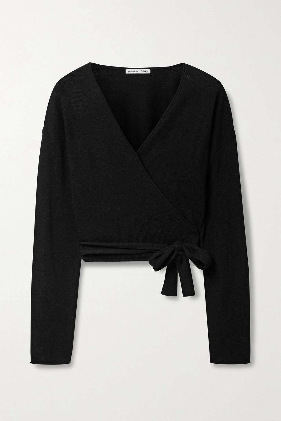 Reformation 羊绒围裹式短款上衣
