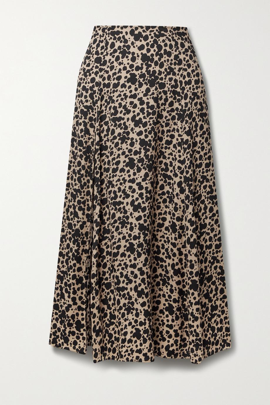 Reformation Zoe leopard-print crepe midi skirt