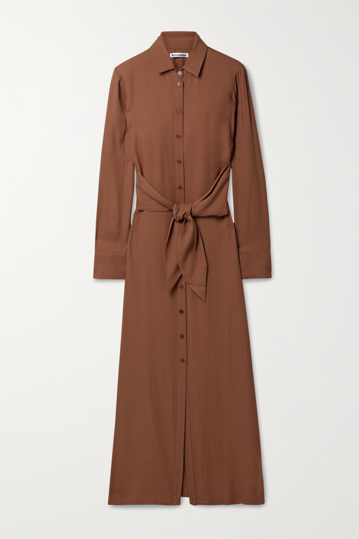 Reformation + NET SUSTAIN Robin tie-front georgette maxi shirt dress