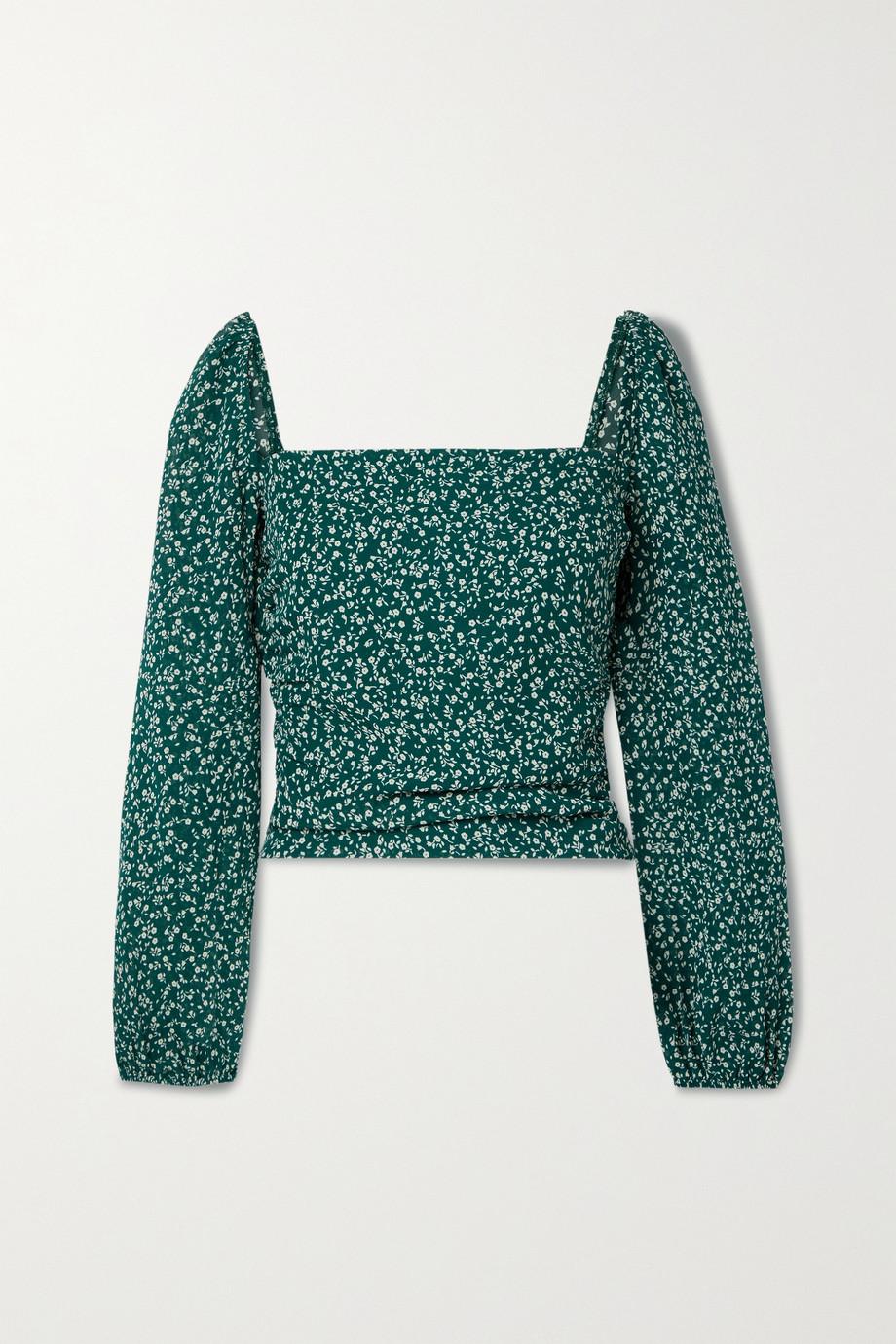 Reformation Olio shirred floral-print georgette top