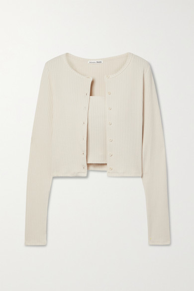 Reformation RUBY STRETCH TENCEL LYOCELL AND ORGANIC COTTON-BLEND CARDIGAN AND CAMISOLE SET