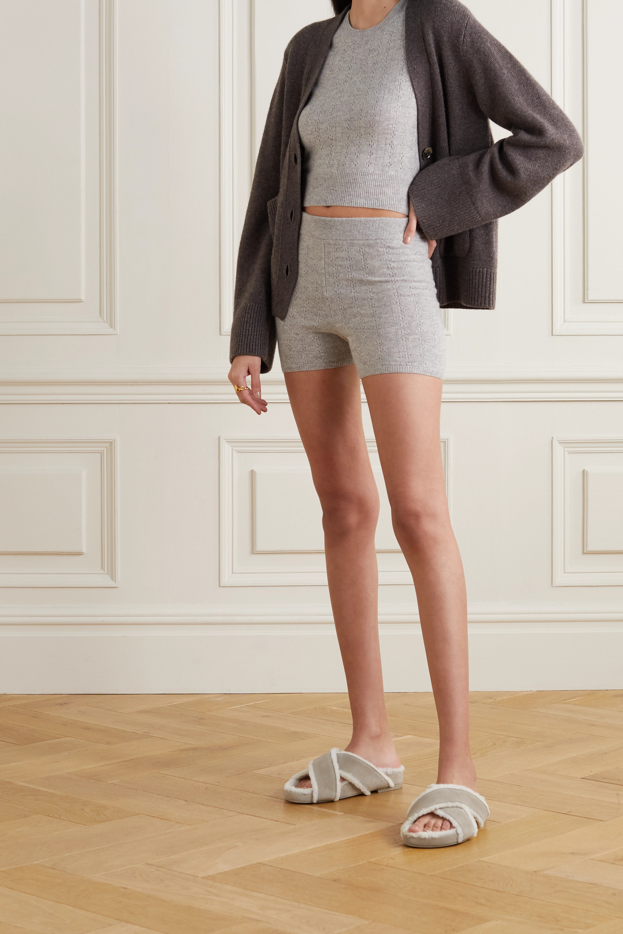Reformation + NET SUSTAIN Villa recycled cashmere-blend T-shirt and shorts set