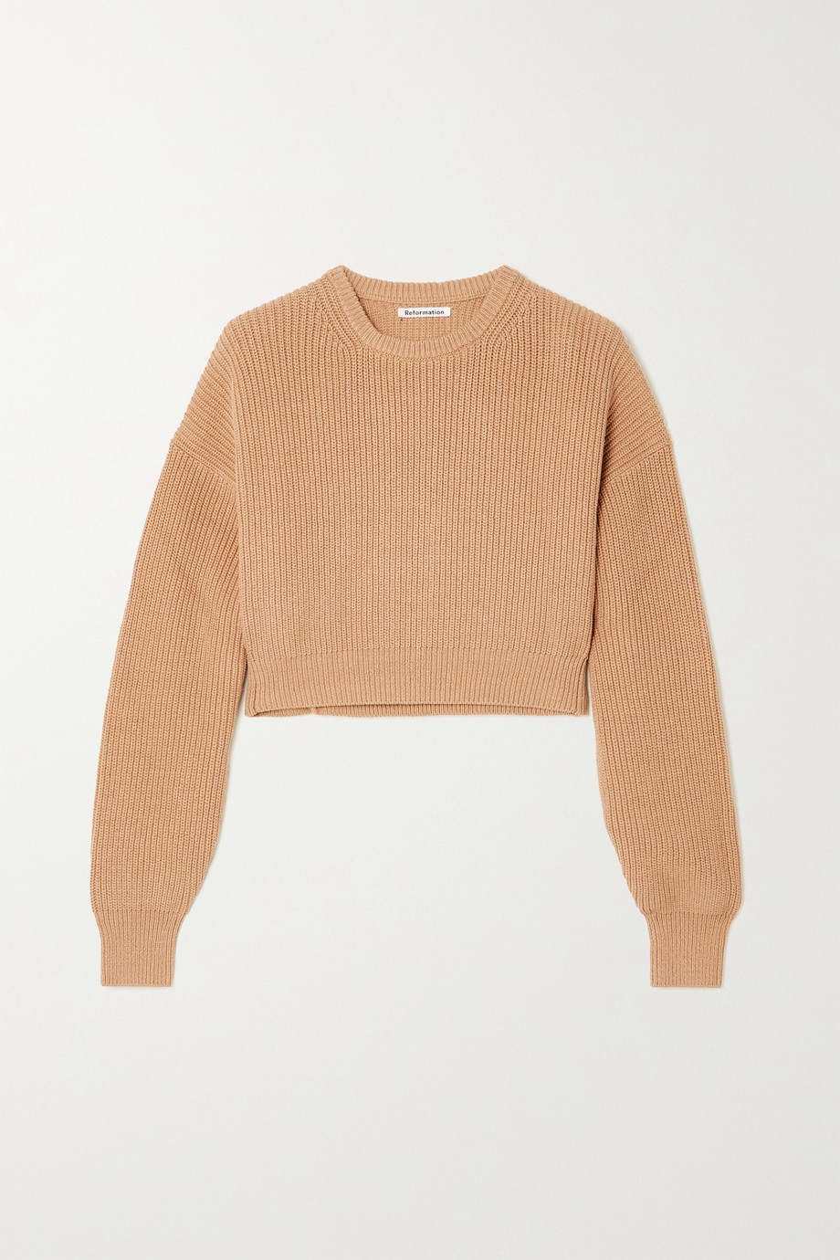 Reformation Sami cropped ribbed organic cotton sweater