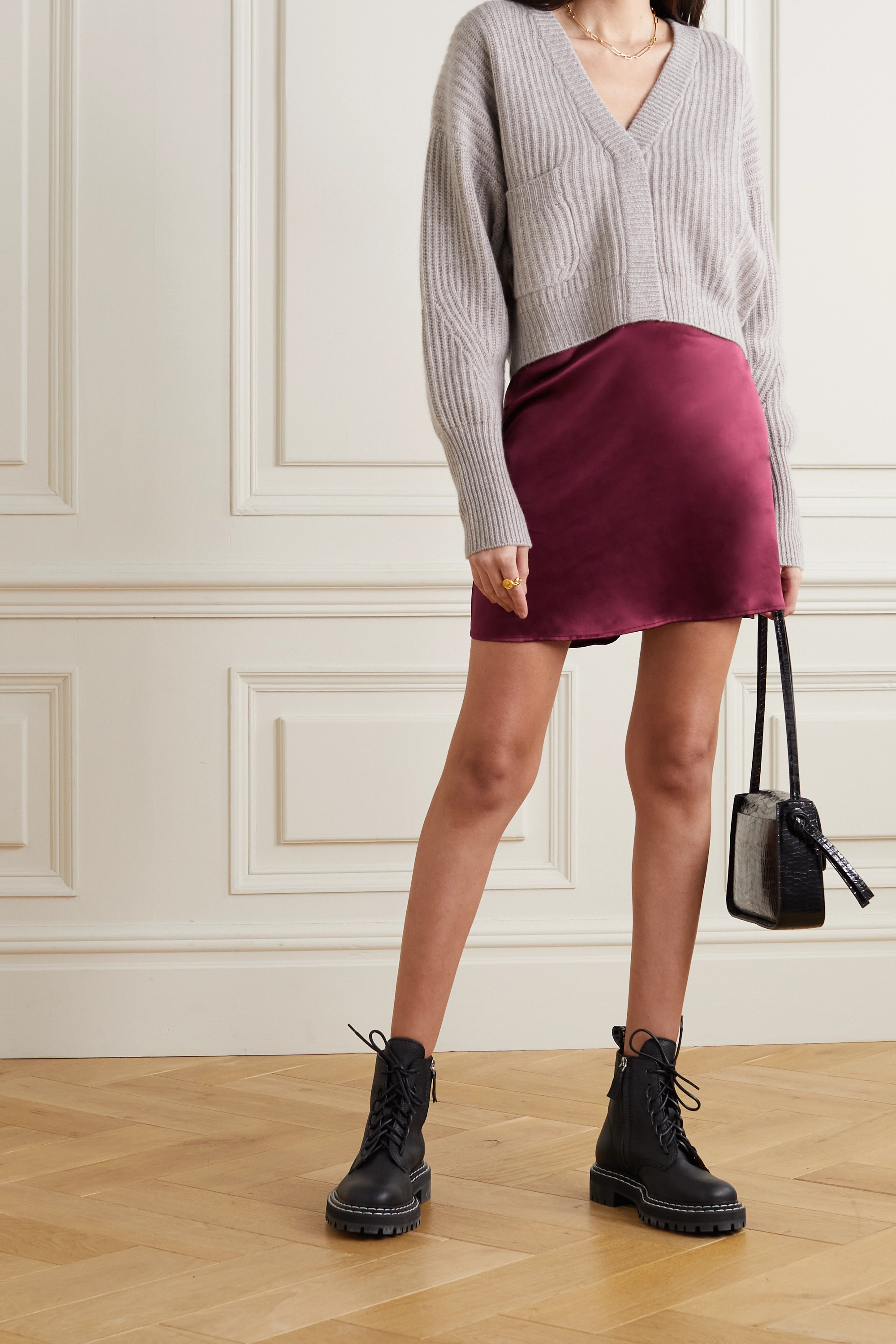 Reformation Benson silk-satin mini skirt