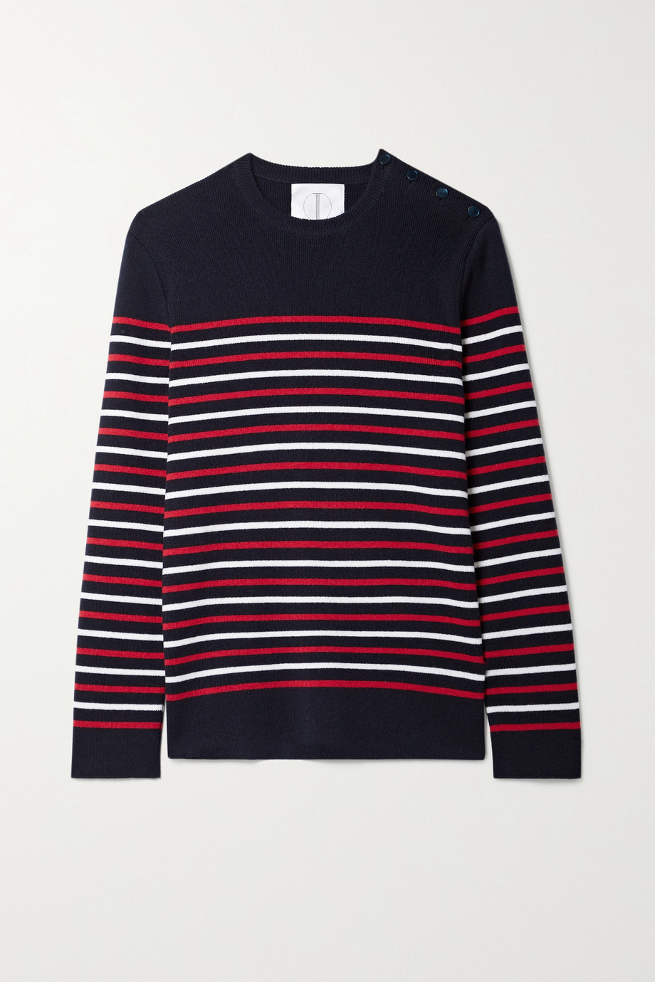 TRE by Natalie Ratabesi The Marie button-detailed striped cashmere sweater
