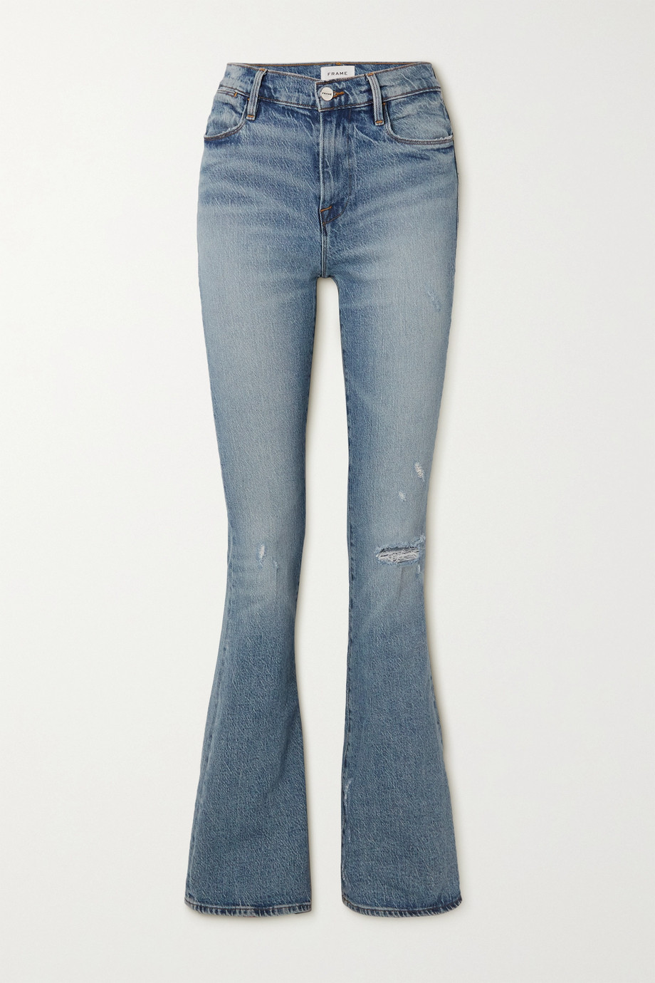 FRAME Le High Flare distressed high-rise jeans