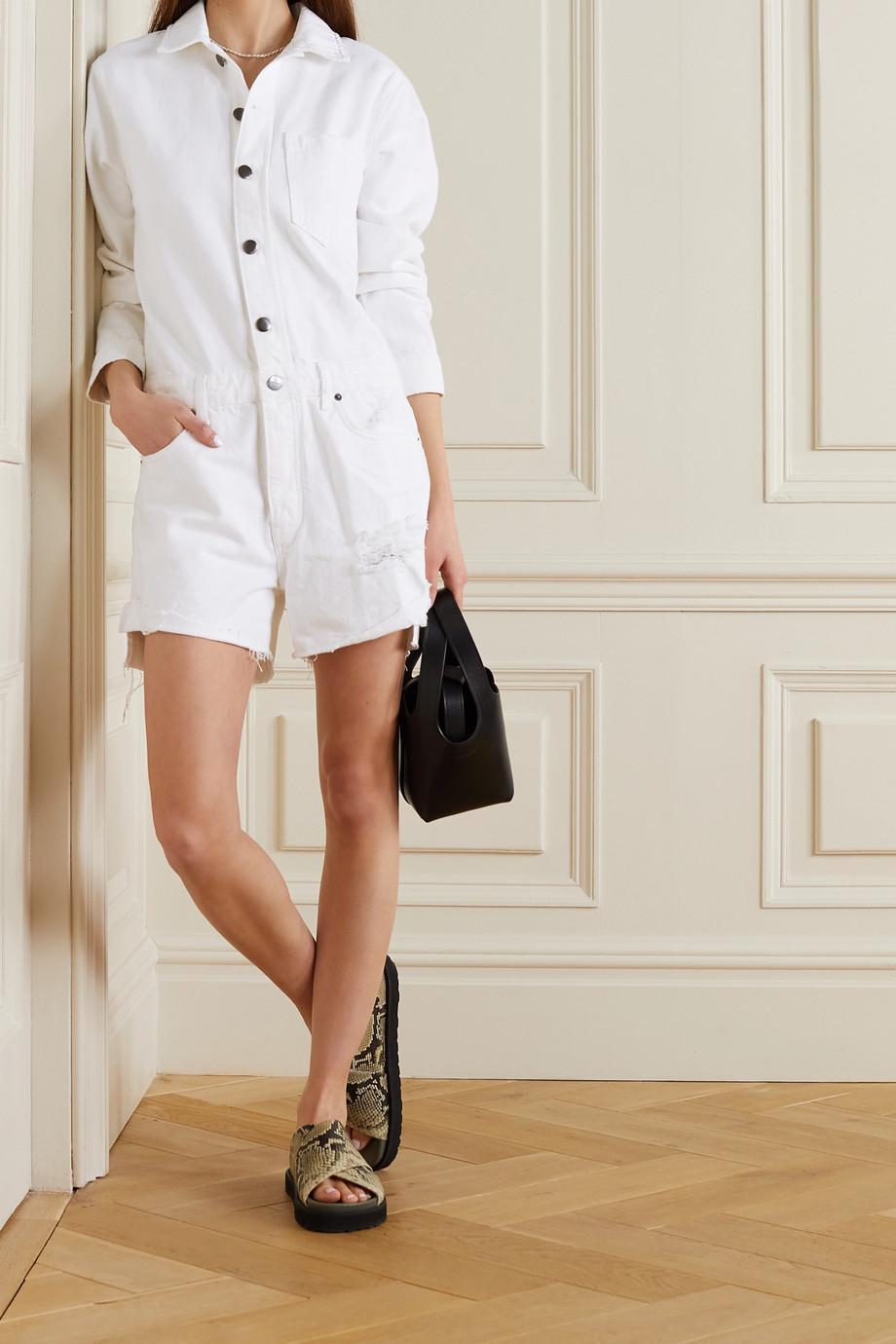 FRAME Combi-short en jean effet vieilli