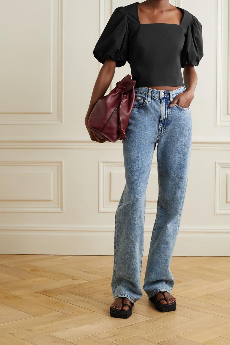 FRAME Nina cropped cotton-poplin blouse