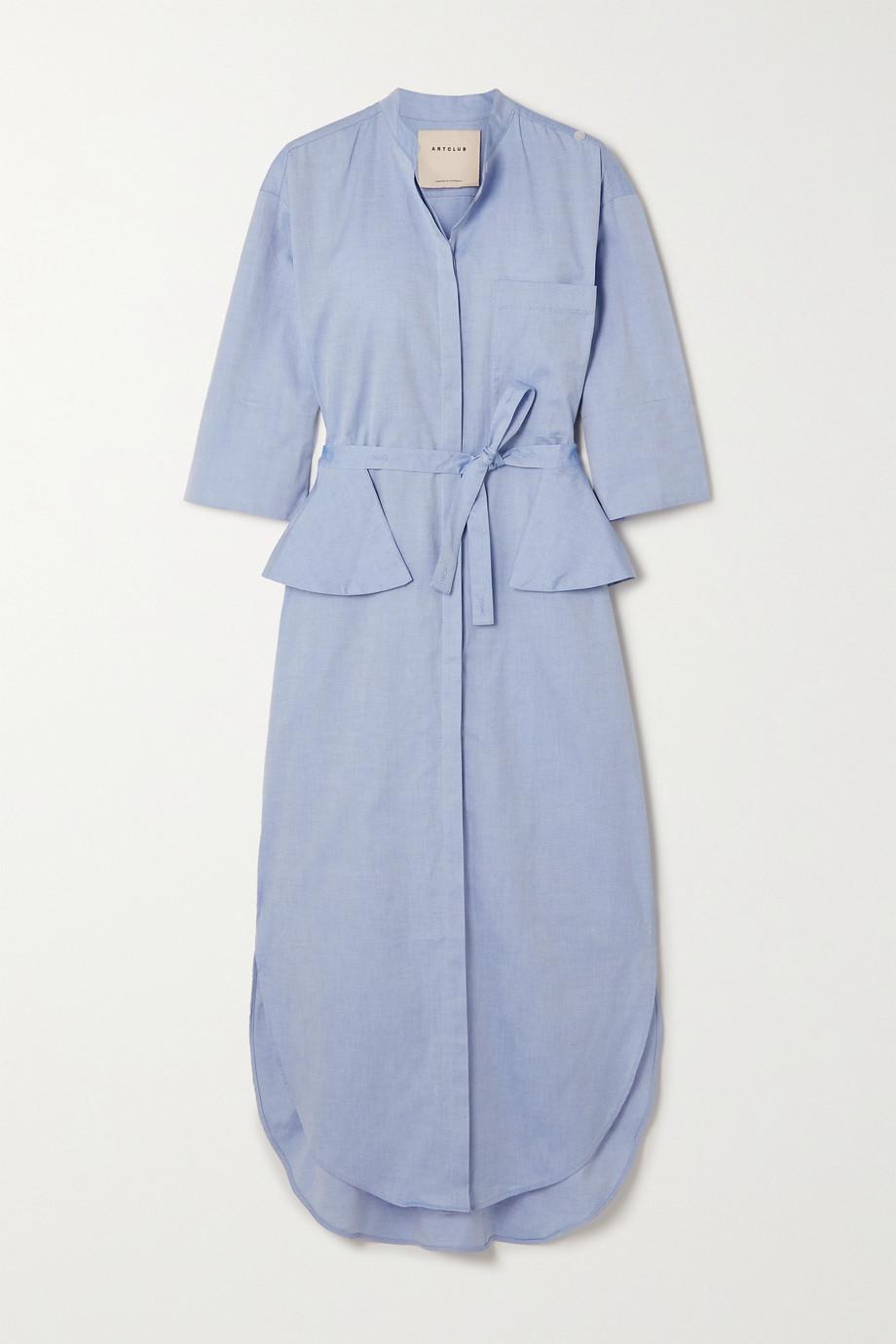 ARTCLUB + NET SUSTAIN Florican belted cotton midi shirt dress