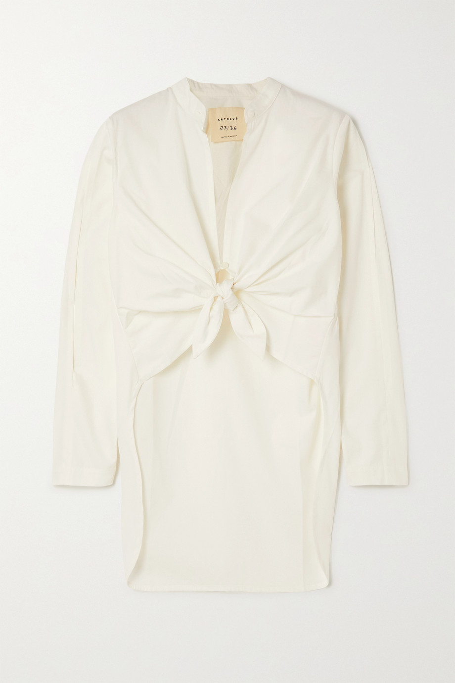ARTCLUB + NET SUSTAIN Narciso tie-front cotton Oxford shirt