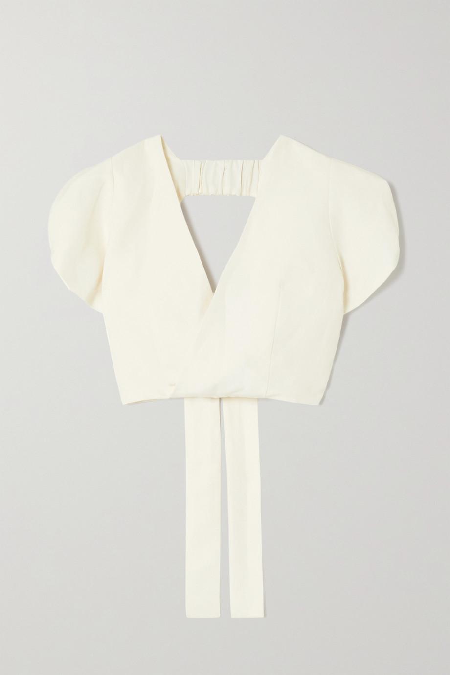 ARTCLUB + NET SUSTAIN Minnie cropped open-back silk-canvas wrap top
