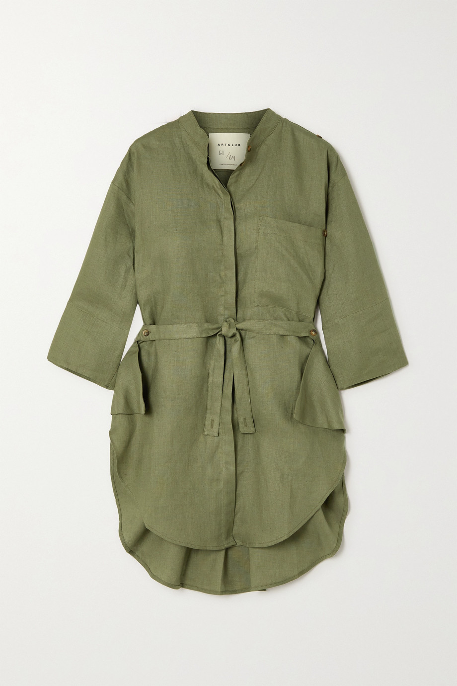 ARTCLUB + NET SUSTAIN Florican belted linen shirt