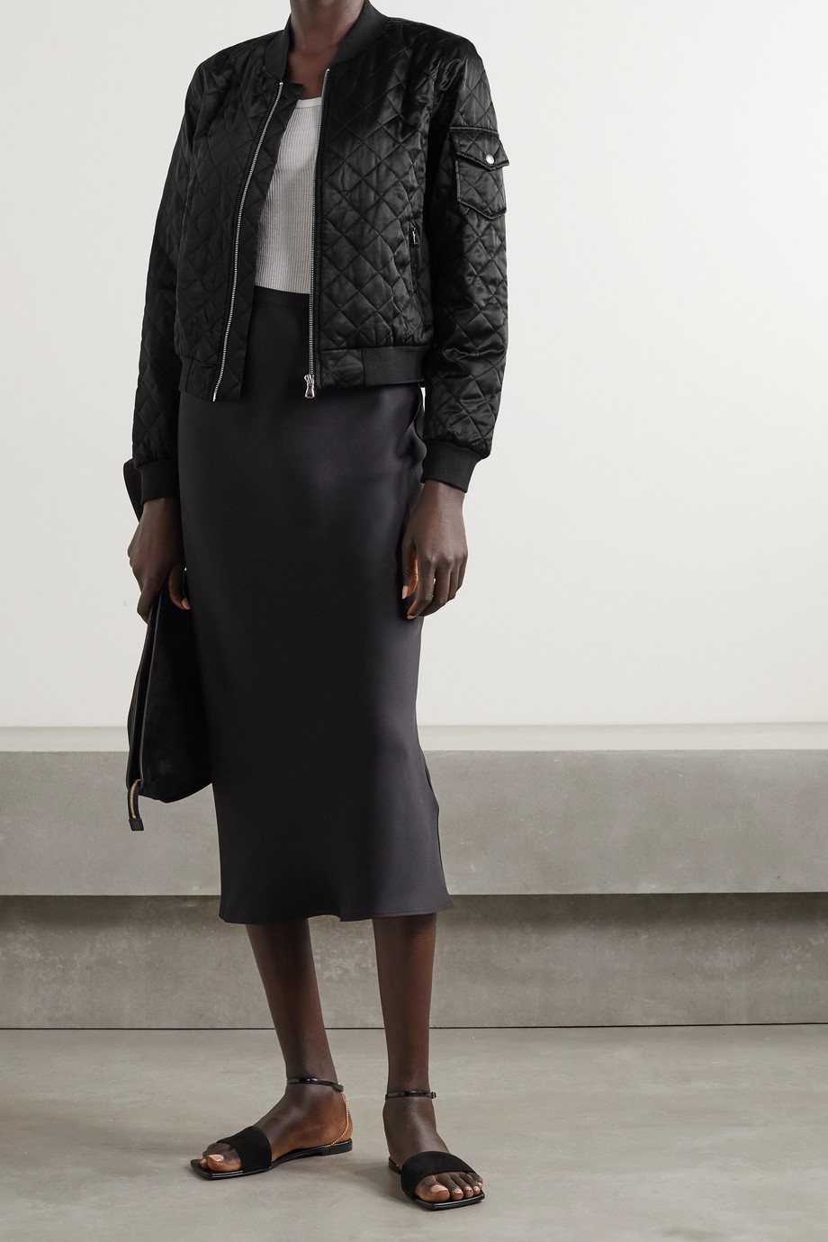 Cami NYC Dierdre quilted silk-charmeuse bomber jacket