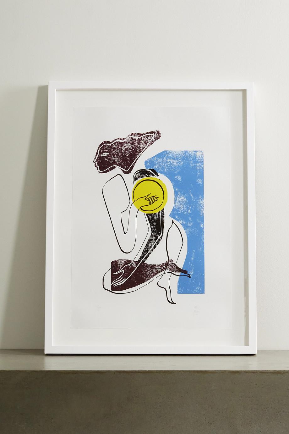"""Roksanda Cerulean Swimmer framed print, 23"""" x 33"""""""