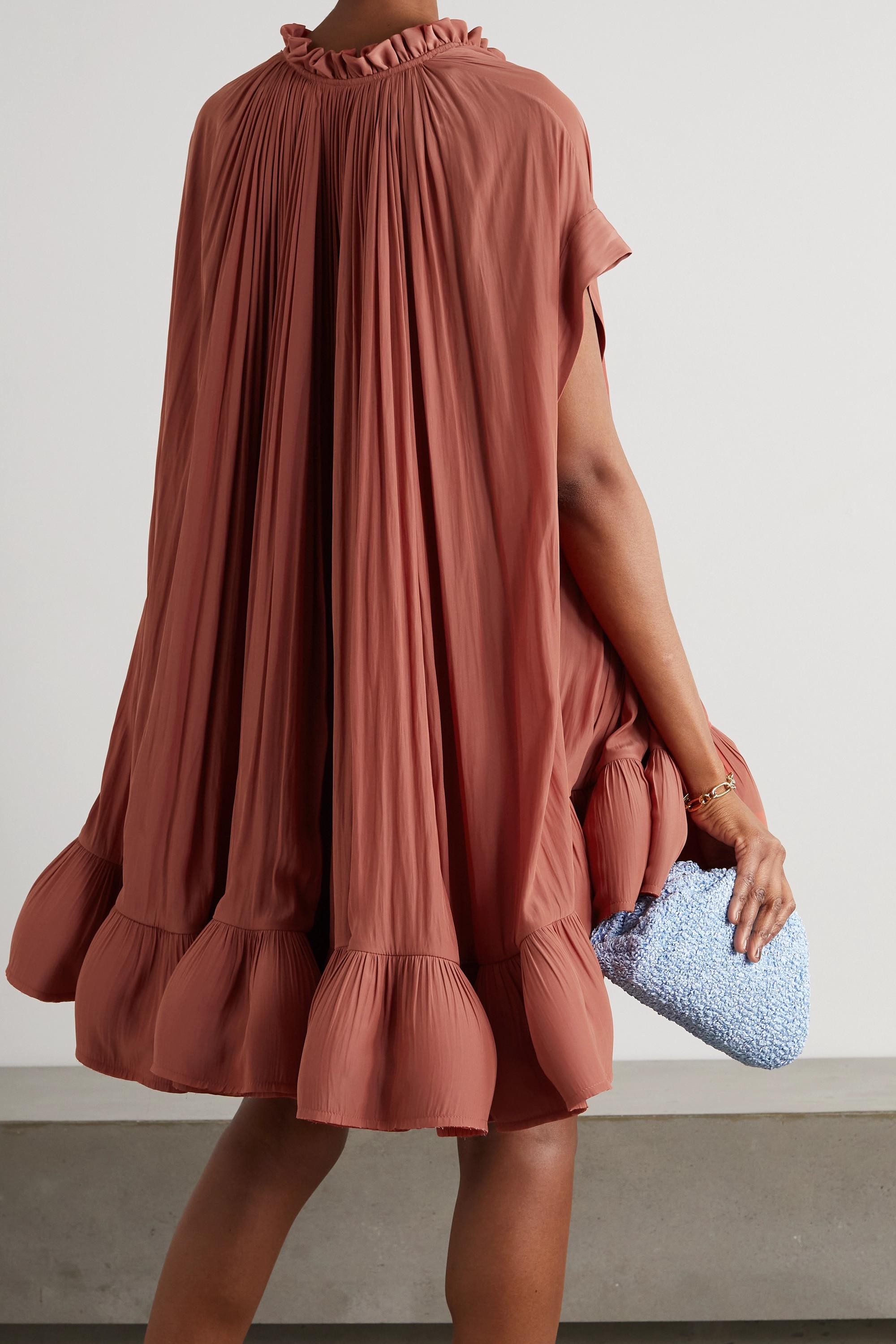 Lanvin Minikleid aus Crêpe mit Cape-Effekt und Schärpengürtel