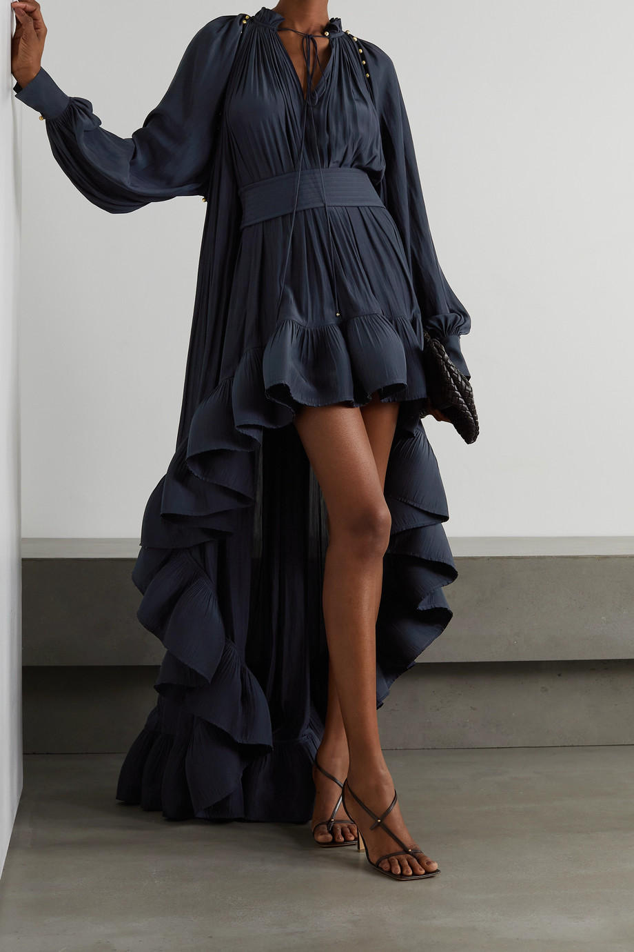 Lanvin Belted asymmetric ruffled crepe gown