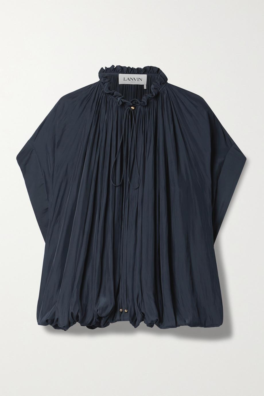 Lanvin Tie-detailed gathered crepe de chine blouse