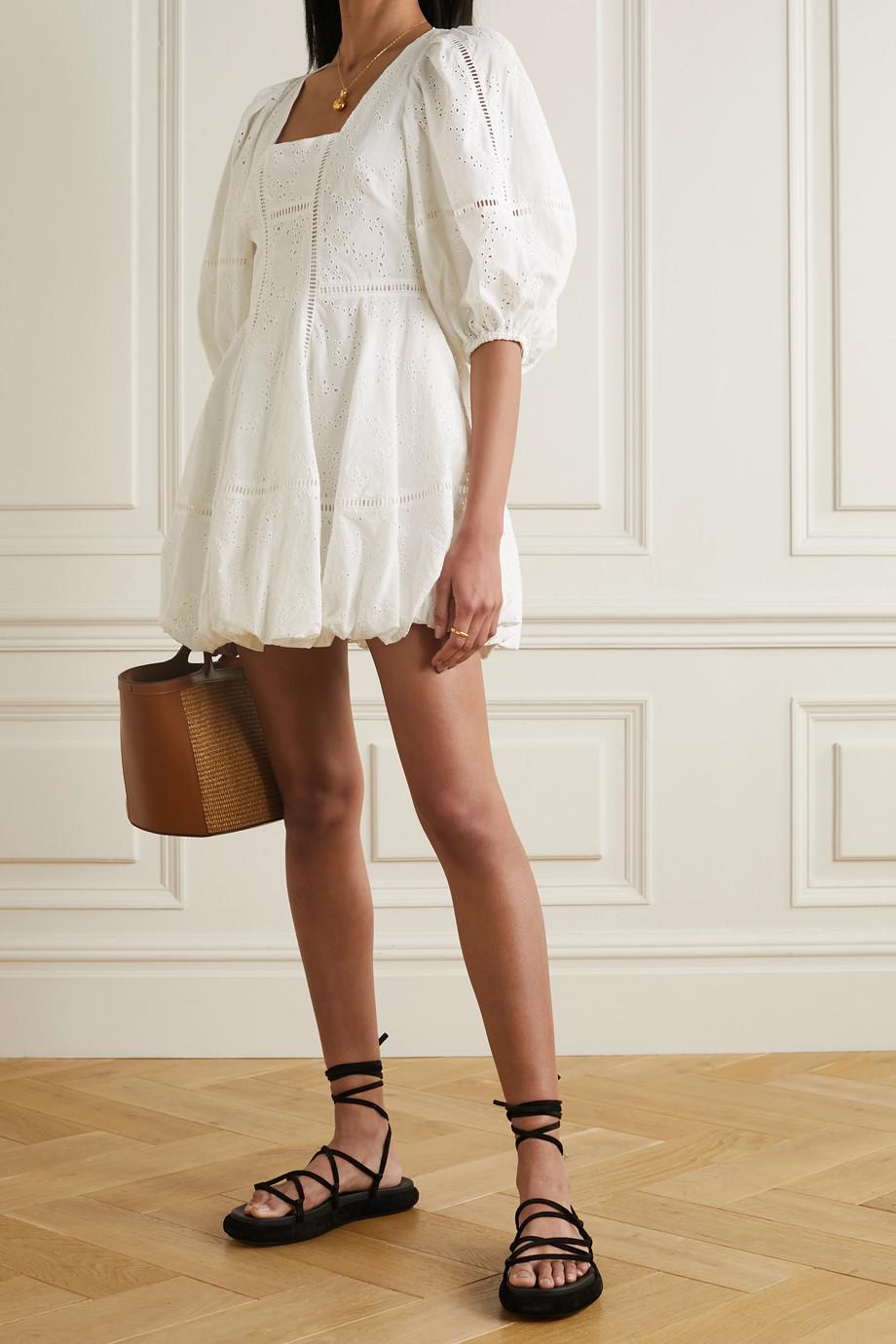 Jonathan Simkhai Brynn gathered broderie anglaise cotton mini dress