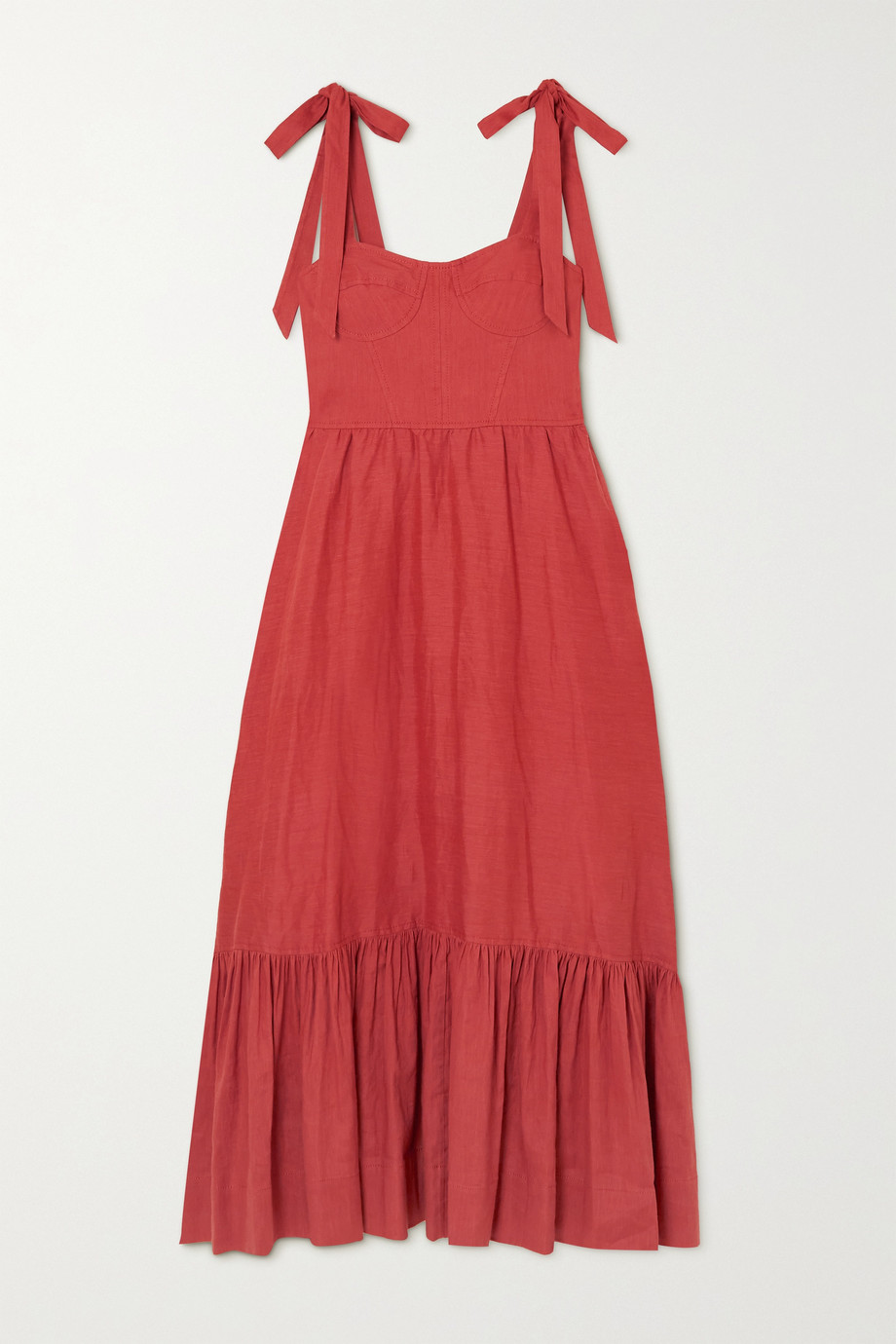 Jonathan Simkhai Georgia tiered linen-blend midi dress