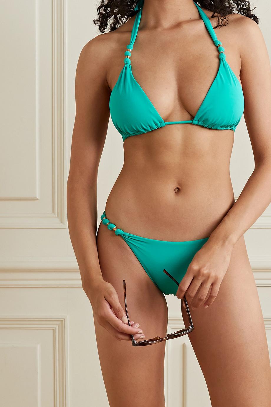 ViX Tulum Paula Triangel-Bikini mit Neckholder und Verzierung