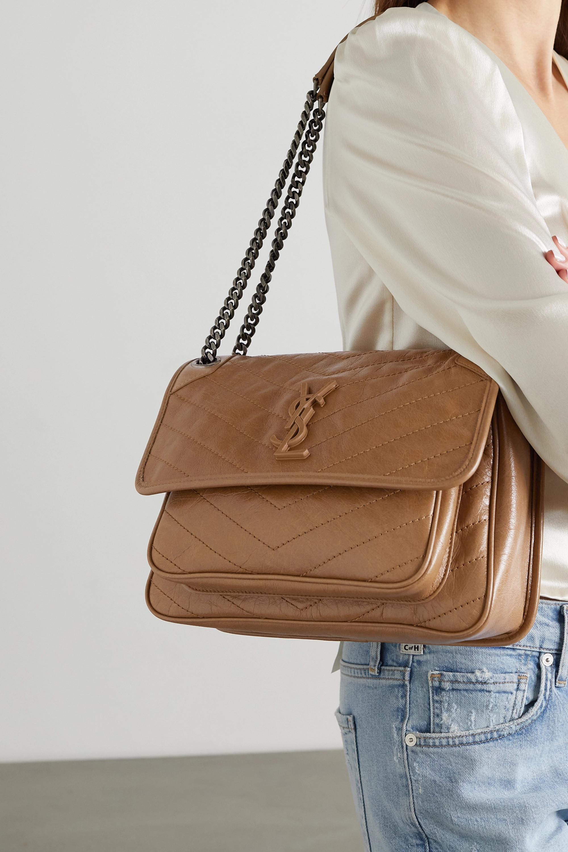 SAINT LAURENT Niki medium quilted crinkled-leather shoulder bag