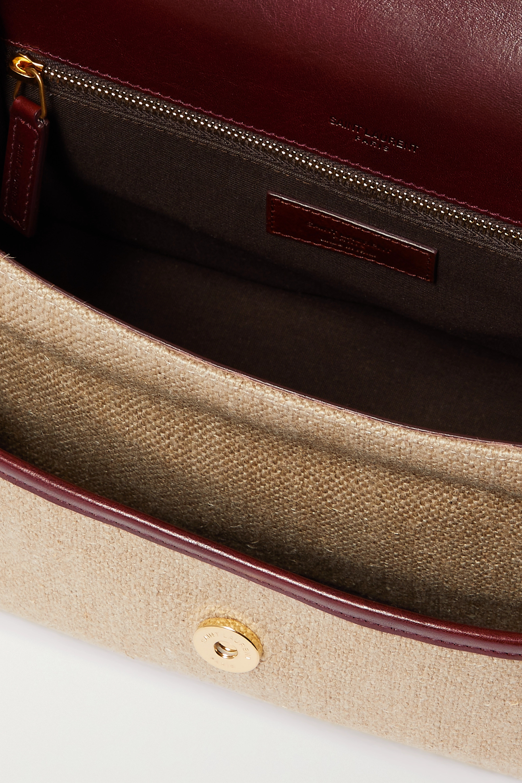 SAINT LAURENT Niki medium leather-trimmed linen-canvas shoulder bag