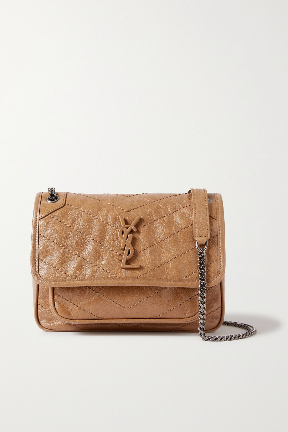 SAINT LAURENT Niki Baby mini quilted crinkled-leather shoulder bag