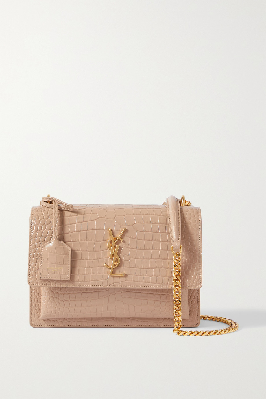 SAINT LAURENT Sunset small croc-effect glossed-leather shoulder bag