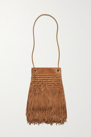 SAINT LAURENT Grace small suede-trimmed raffia shoulder bag