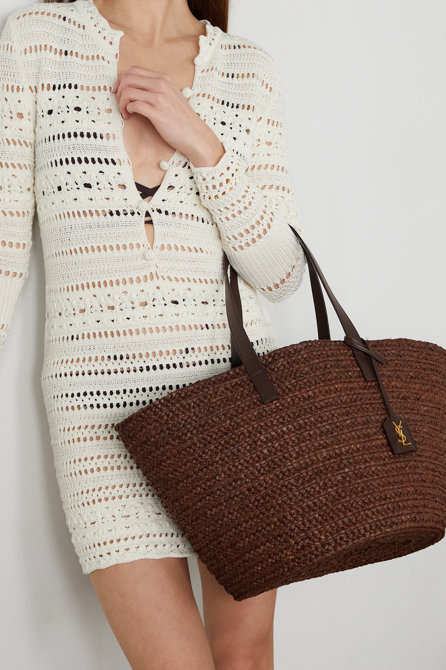 SAINT LAURENT Panier medium leather-trimmed raffia tote