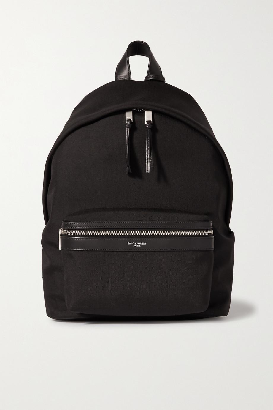 SAINT LAURENT City leather-trimmed cotton-canvas backpack