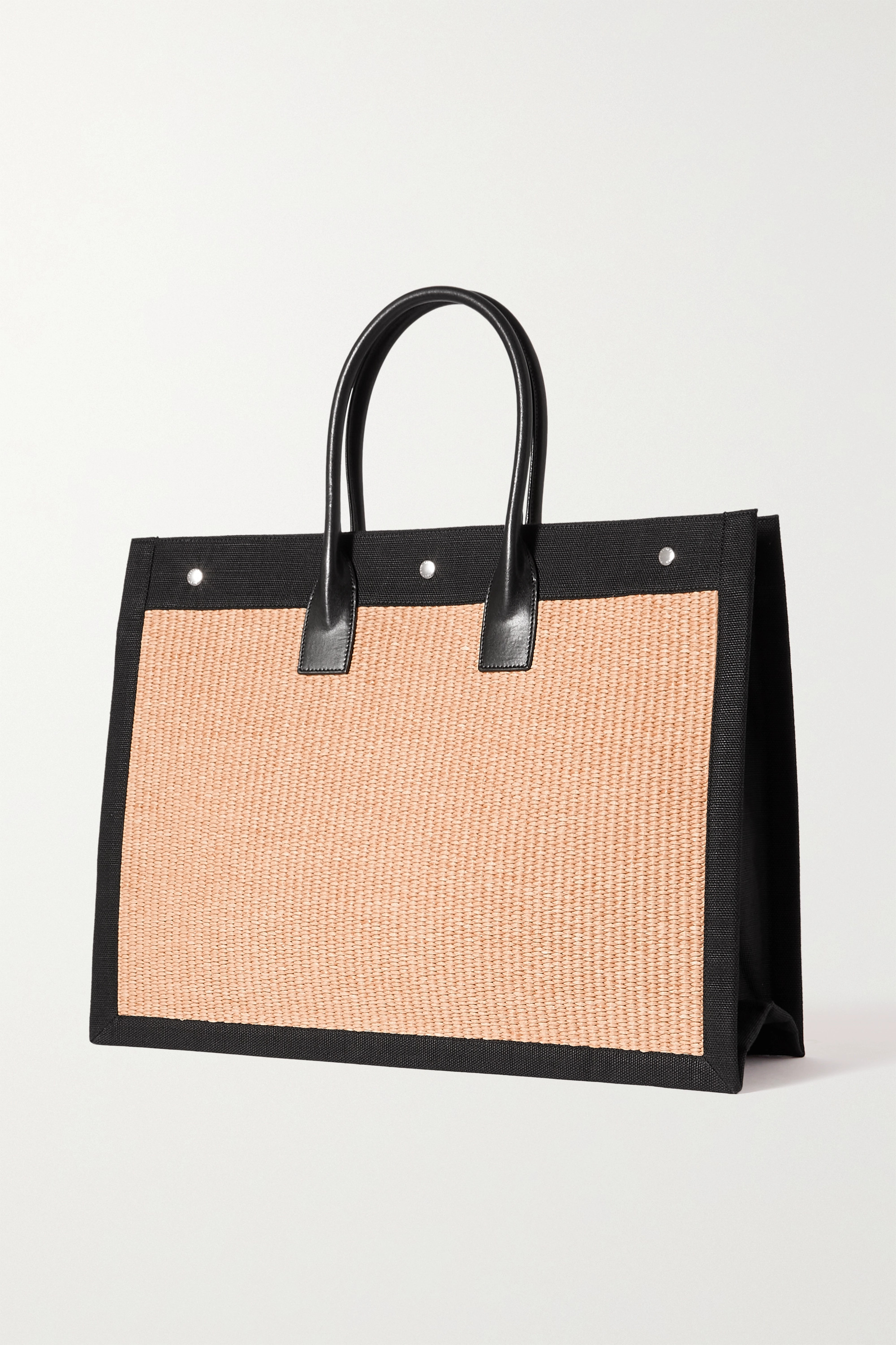 SAINT LAURENT Noe leather-trimmed embroidered faux straw and canvas tote