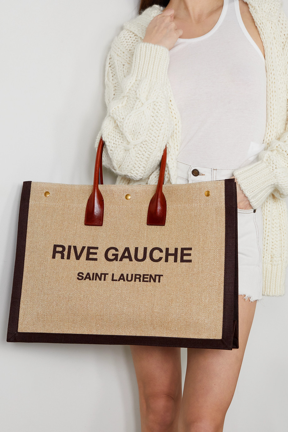 SAINT LAURENT Noe leather-trimmed printed linen-canvas tote