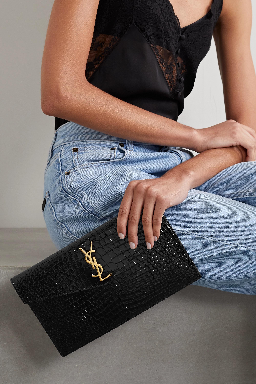 SAINT LAURENT Uptown croc-effect patent-leather pouch
