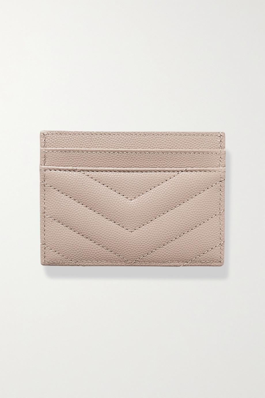 SAINT LAURENT Porte-cartes en cuir texturé matelassé Monogramme