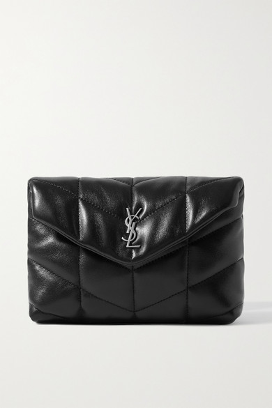 Saint Laurent Loulou Puffer Small Quilted Leather Clutch In Black