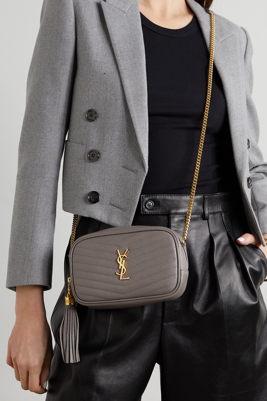 SAINT LAURENT Lou mini quilted textured-leather shoulder bag