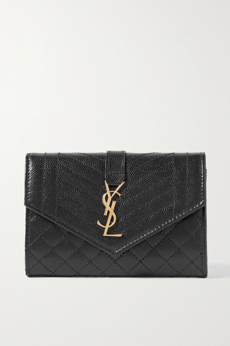 SAINT LAURENT Portefeuille en cuir texturé matelassé Envelope