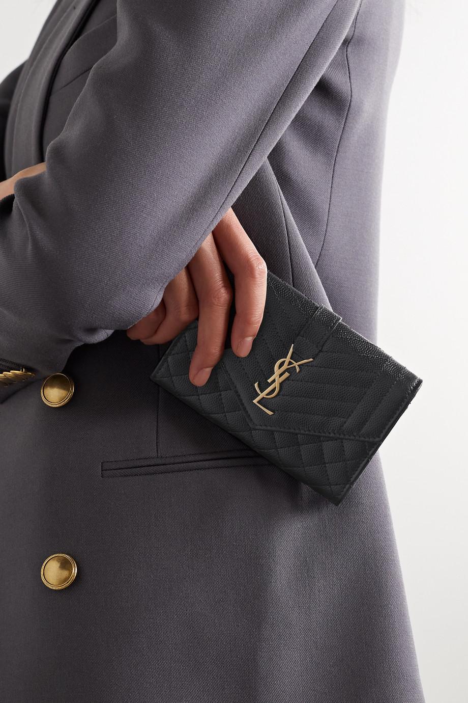 SAINT LAURENT Envelope quilted textured-leather wallet