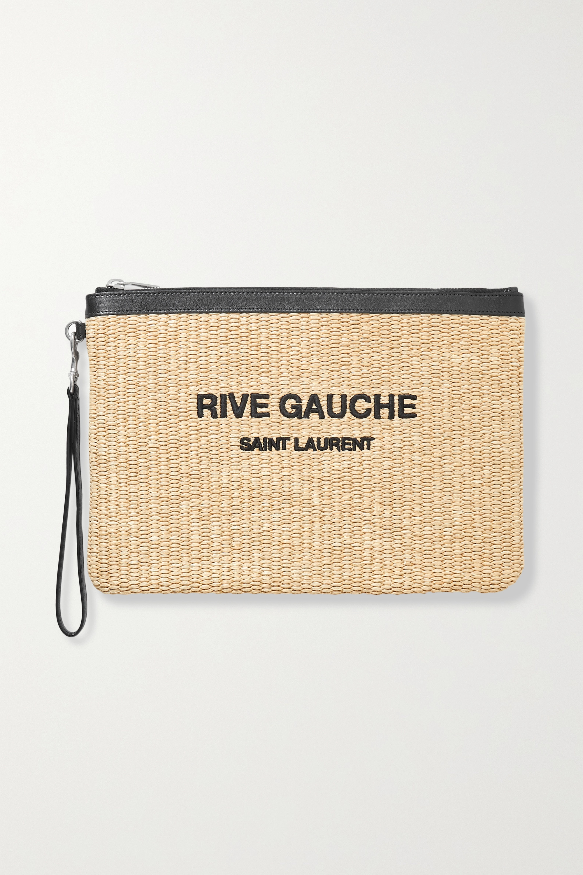 SAINT LAURENT Noe leather-trimmed embroidered raffia pouch