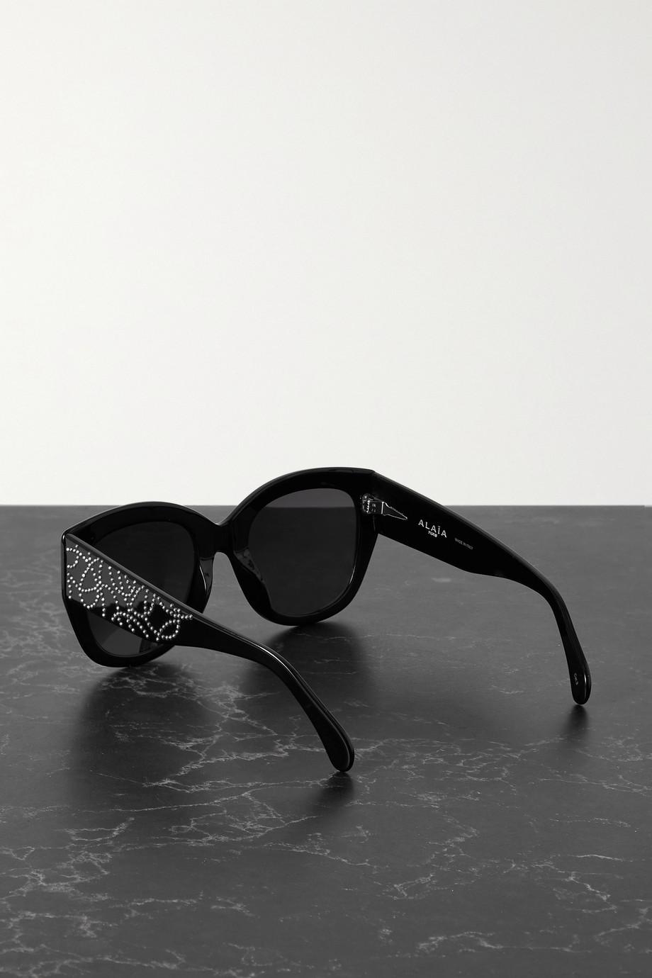 Alaïa Oversized-Sonnenbrille mit eckigem Rahmen aus Azetat mit Nieten